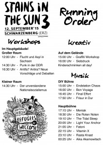 Running Order Stains in the Sun 2015